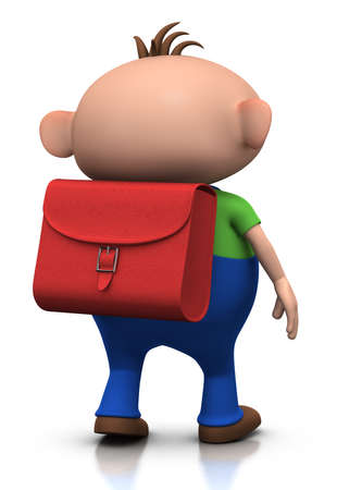 walking away: cute boy with a satchel on his back walking away - 3d renderingillustration Stock Photo