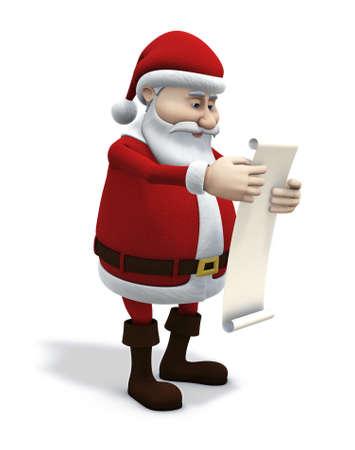 christmas humor: 3d renderingillustration of cartoon santa claus studying a wishlist