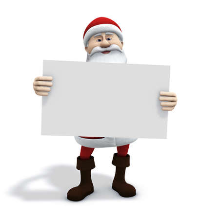3d renderingillustration of cartoon santa claus holding a white sign in front of him illustration