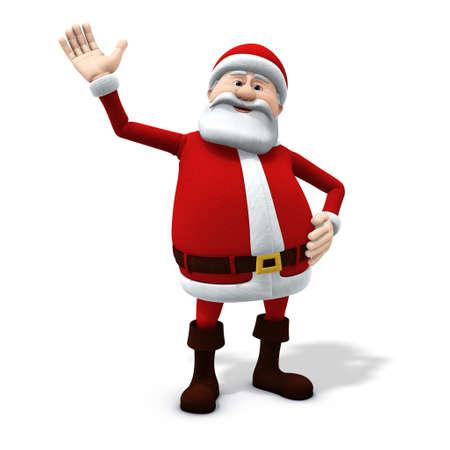 3d renderingillustration of a cartoon santa waving friendly