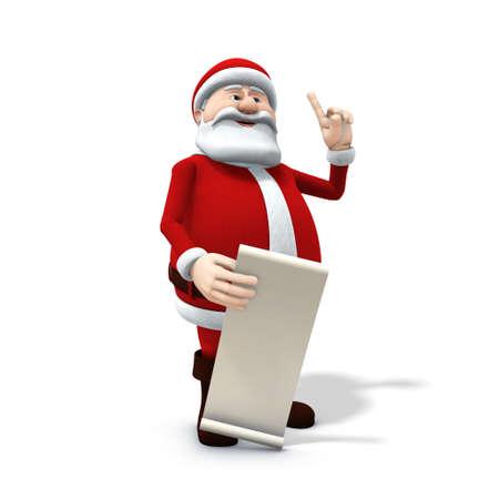 wishlist: 3d renderingillustration of a cartoon santa with along wishlist Stock Photo