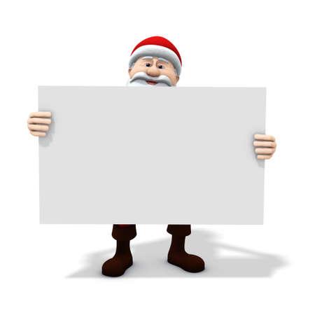 3d renderingillustration of a cartoon santa holding a big blank sign