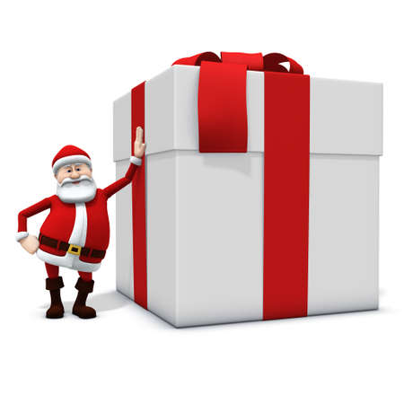 3d rendering/illustration of a cartoon santa leaning against big present Stock Illustration - 7315429