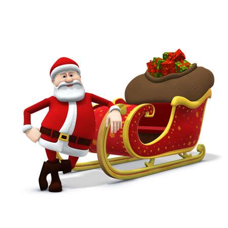 weihnachtsmann lustig: 3D RenderingIllustration einer Cartoon Santa, die an seinen Schlitten gelehnt  Lizenzfreie Bilder