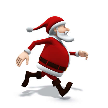 right side: 3d renderingillustration of a cartoon santa running from left to right