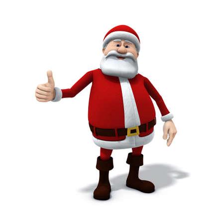 3d renderingillustration of a cartoon santa with thumbs up gesture Stock Photo
