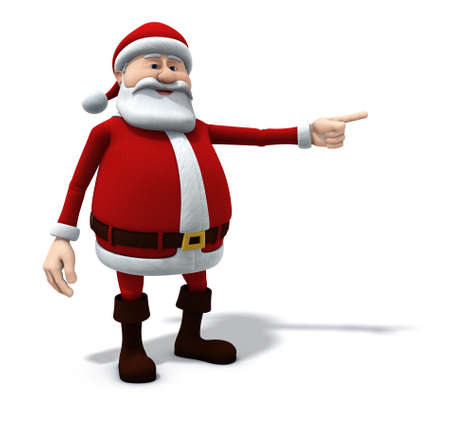 red point: 3d renderingillustration of a cartoon santa pointing to his left  screen right