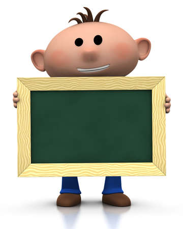 3d renderingillustration of a cute cartoon boy holding a chalkboard in front of him Stock Photo