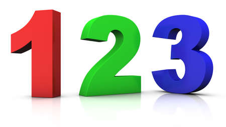 three color: big red green and blue 3d numbers 123  - 3d renderingillustration