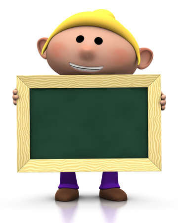 first day of school: 3d renderingillustration of a cute cartoon girl holding a chalkboard in front of him Stock Photo