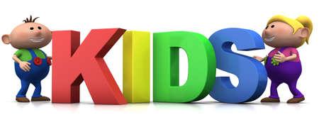 little boy and girl with big 3d KIDS letters - 3d renderingillustration