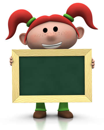 3d renderingillustration of a cute cartoon girl with red pigtails holding a chalkboard in front of her
