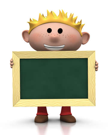 freckles: 3d renderingillustration of a cute cartoon boy with blond hair holding a chalkboard in front of him