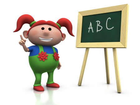 freckles: 3d renderingillustration of a cute cartoon girl with red pigtails in front of a blackboard raising her hand