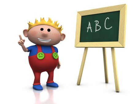 3d renderingillustration of a cute cartoon boy in front of a blackboard raising his hand illustration