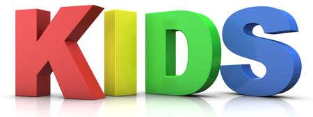 grote veelkleurige 3d letters het woord vormen KIDS - 3d renderingillustratie