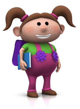 cute brownhaired chica con una mochila en su espalda y el libro bajo su brazo - 3d fotorrealismo o una ilustraci�n  Foto de archivo - 7583938
