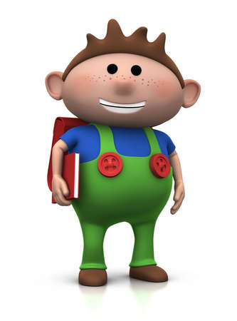 cute brownhaired boy with a satchel on his back and book under his arm - 3d renderingillustration illustration