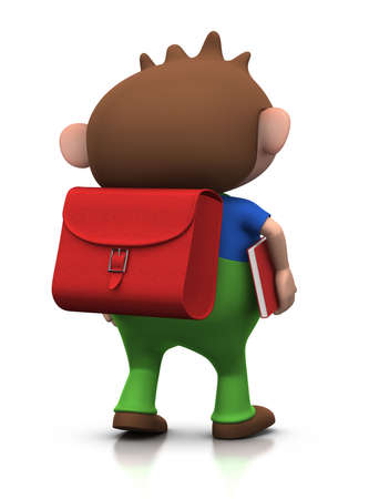 satchel: cute brownhaired boy with a satchel on his back and a book under his arm walking to school - 3d renderingillustration