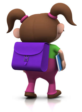back view student: cute brownhaired girl with a satchel on her back and a book under her arm walking to school - 3d renderingillustration