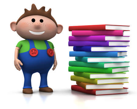 cute brownhaired boy standing beside a big stack of books - 3d renderingillustration illustration