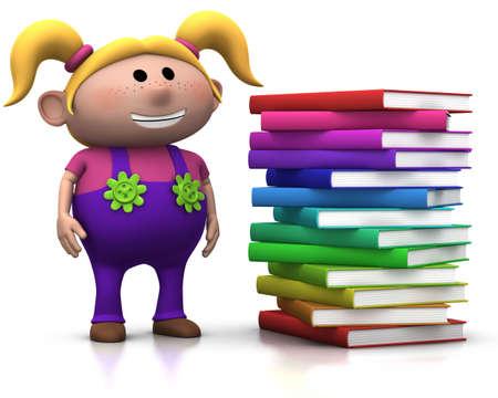 beside: cute blond girl standing beside a big stack of books - 3d renderingillustration Stock Photo