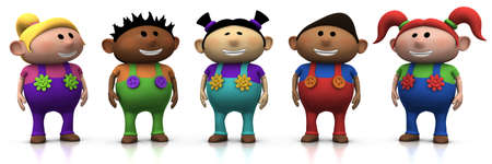 five colorful multi-ethnic cartoon kids with big smiles on their faces -  3d renderingillustration Stock Photo