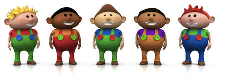 five colorful multi-ethnic cartoon boys with big smiles on their faces -  3d renderingillustration Stock Photo