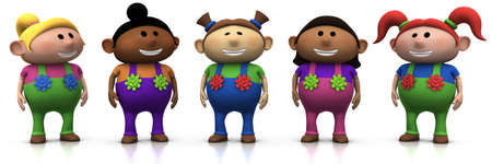 five colorful multi-ethnic cartoon girls with big smiles on their faces -  3d renderingillustration Stock Photo
