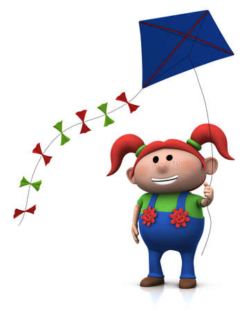 kite: cute cartoon girl with a big smile on her face flying a kite - 3d renderingillustration Stock Photo