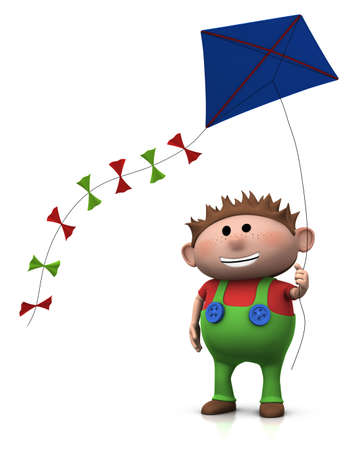 flying a kite: cute cartoon boy with a big smile on his face flying a kite - 3d renderingillustration