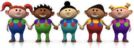 dungarees: five colorful multi-ethnic cartoon kids holding hands -  3d renderingillustration Stock Photo