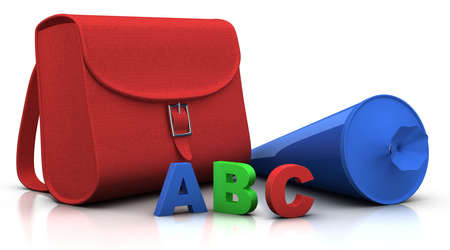 conical: red satchel and blue conical bag of sweets with ABC letters - 3d renderingillustration Stock Photo