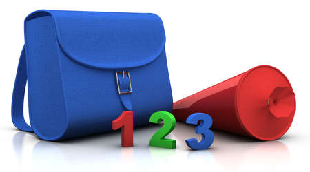conical: blue satchel and red conical bag of sweets with 123 numbers - 3d renderingillustration
