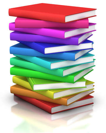 stack of books: colorful stack of books  - 3d illustrationrendering Stock Photo