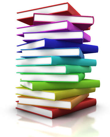first day of school: colorful stack of books  - 3d illustrationrendering Stock Photo