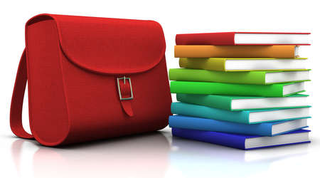 satchel: red satchel and stack of colorfull books - 3d illustrationrendering