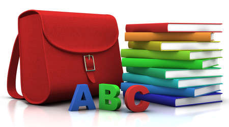 red satchel and stack of colorfull books - 3d illustrationrendering illustration