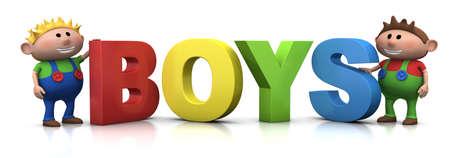 cute little boys with big 3d BOYS letters - 3d renderingillustration Stock Photo