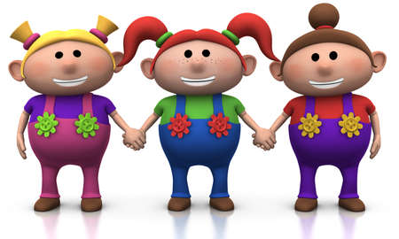 three colors: three cute cartoony girls holding hands - 3d illustrationrendering