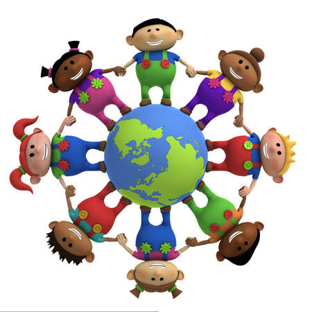 multiethnic: multi-ethnic cartoon kids holding hands around a globe -  3d renderingillustration Stock Photo