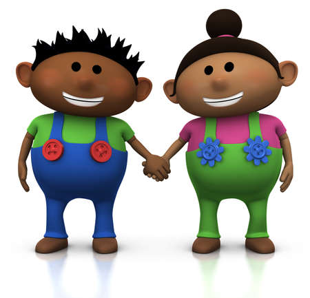 hair black color: cute cartoon boy and girl holding hands - 3d illustrationrendering