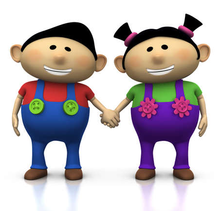 cute cartoon boy and girl holding hands - 3d illustration/rendering Stock Illustration - 7611024