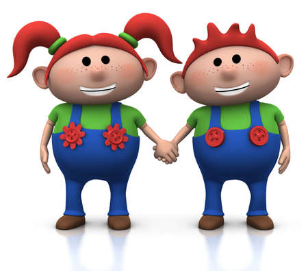 dungarees: cute cartoon boy and girl holding hands - 3d illustrationrendering