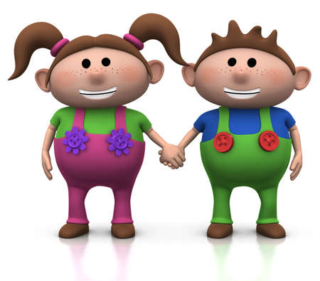 pigtail: cute cartoon boy and girl holding hands - 3d illustrationrendering