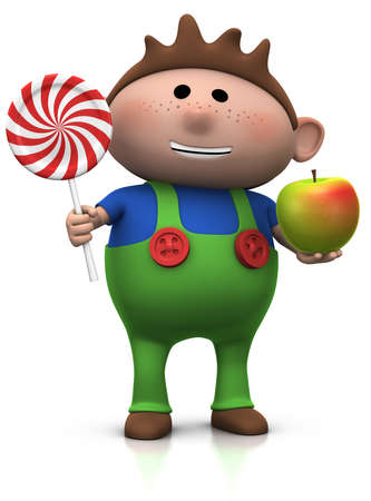 dungarees: cute cartoony boy with lollipop and apple - 3d illustrationrendering