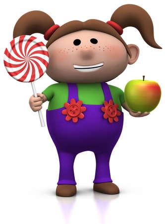 cartoony: cute cartoony girl with lollipop and apple - 3d illustrationrendering