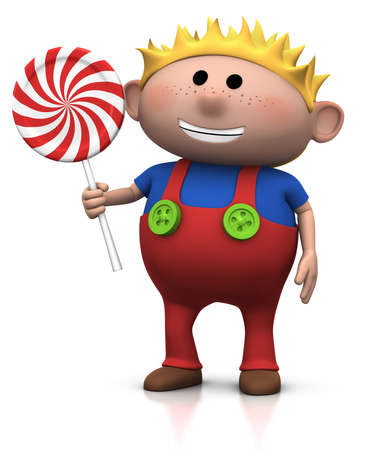 dungarees: cute cartoony blond haired boy with lollipop - 3d illustrationrendering