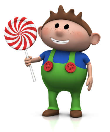 haired: cute cartoony brown haired boy with lollipop - 3d illustrationrendering Stock Photo
