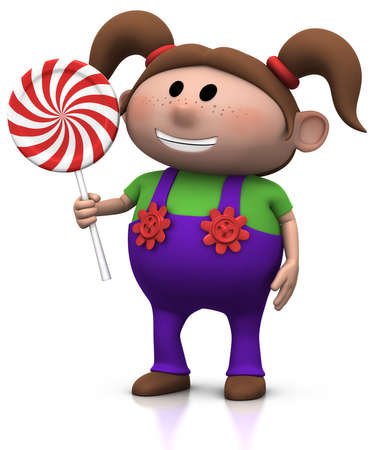 haired: cute cartoony brown haired girl with lollipop - 3d illustrationrendering